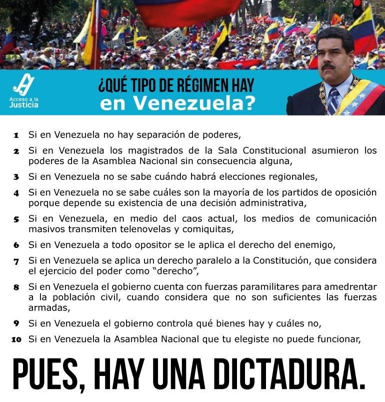 ¿Qué tipo de régimen hay en Venezuela? Una dictadura