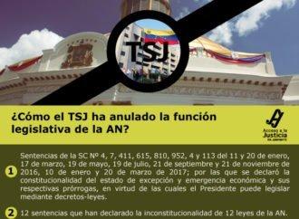 ¿Comó el TSJ ha anulado la función legislativa de la AN?