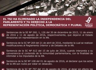 El TSJ ha eliminado la independencia del parlamento y tu derecho a la representación política, democrática y plural