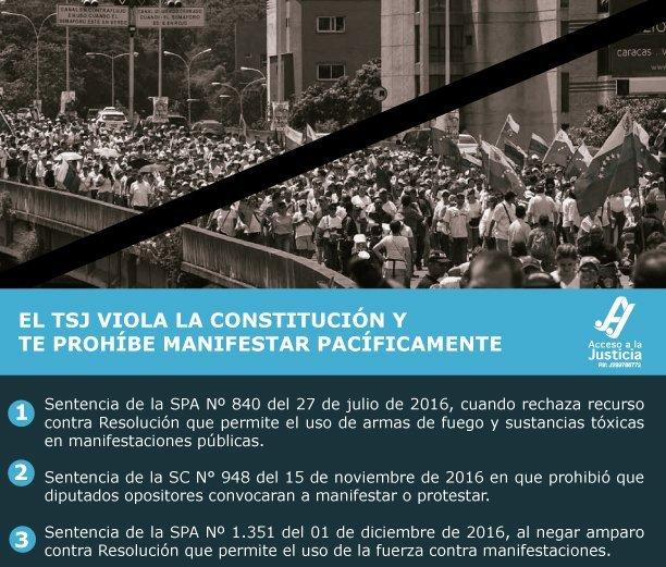 El TSJ viola la Constitución y te prohíbe manifestar pacíficamente