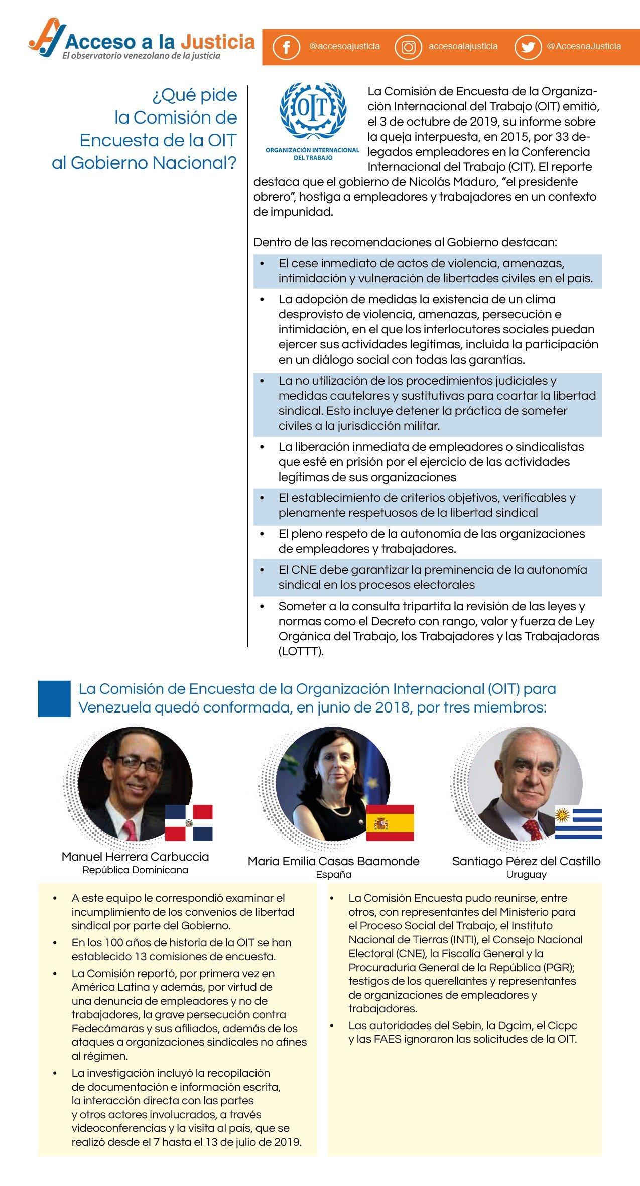 Recomendaciones de la OIT al Estado venezolano