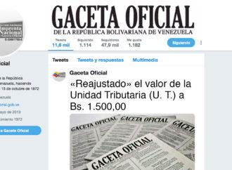«Reajustado» el valor de la Unidad Tributaria (U. T.) a Bs. 1.500,00