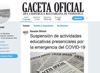 Suspensión de actividades educativas presenciales por la emergencia del COVID-19