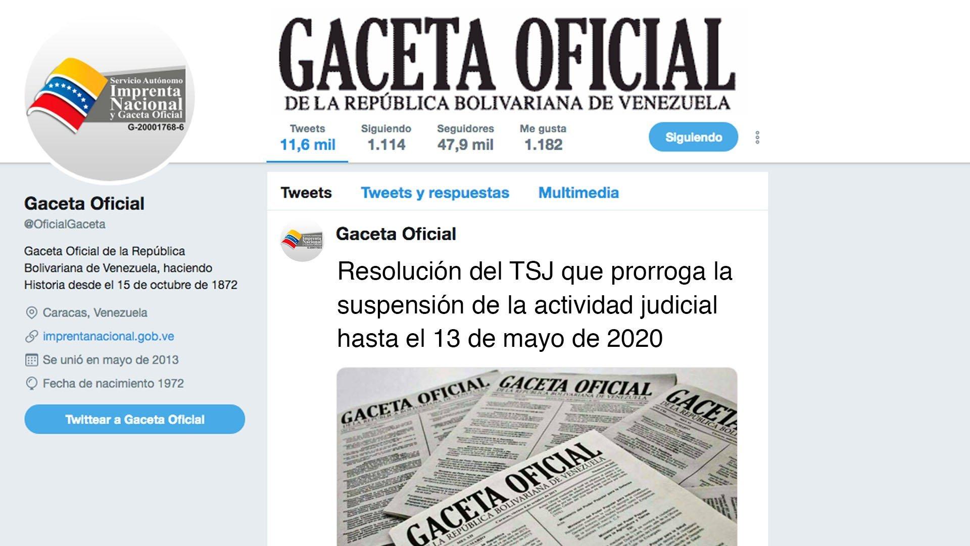 Resolución del TSJ que prorroga la suspensión de la actividad judicial hasta el 13 de mayo de 2020