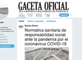 En Gaceta: Normativa sanitaria de responsabilidad social ante la pandemia por el coronavirus Covid-19