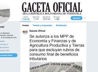 En Gaceta: Se autoriza a los MPP de Economía y Finanzas y de Agricultura Productiva y Tierras para que excluyan rubros de consumo final de beneficios tributarios