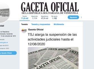 TSJ alarga la suspensión de las actividades judiciales hasta el 12/08/2020
