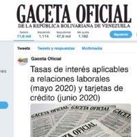 Tasas de interés aplicables a relaciones laborales (mayo 2020) y tarjetas de crédito (junio 2020)