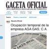 Ocupación temporal de la empresa AGA GAS, C.A.