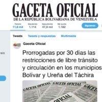 Prorrogadas por 30 días las restricciones de libre tránsito y circulación en los municipios Bolívar y Ureña del Táchira