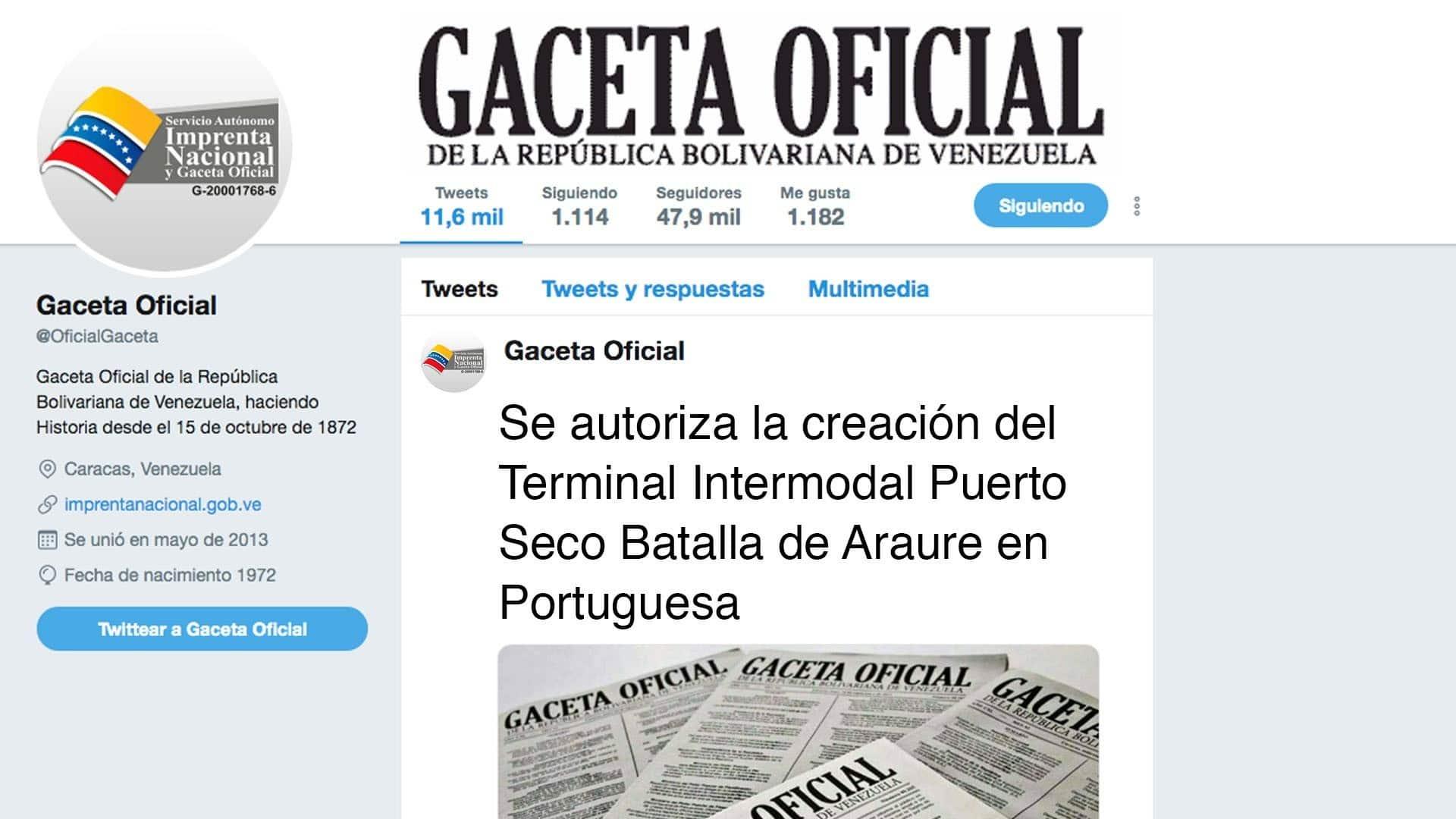 Se autoriza la creación del Terminal Intermodal Puerto Seco Batalla de Araure en Portuguesa