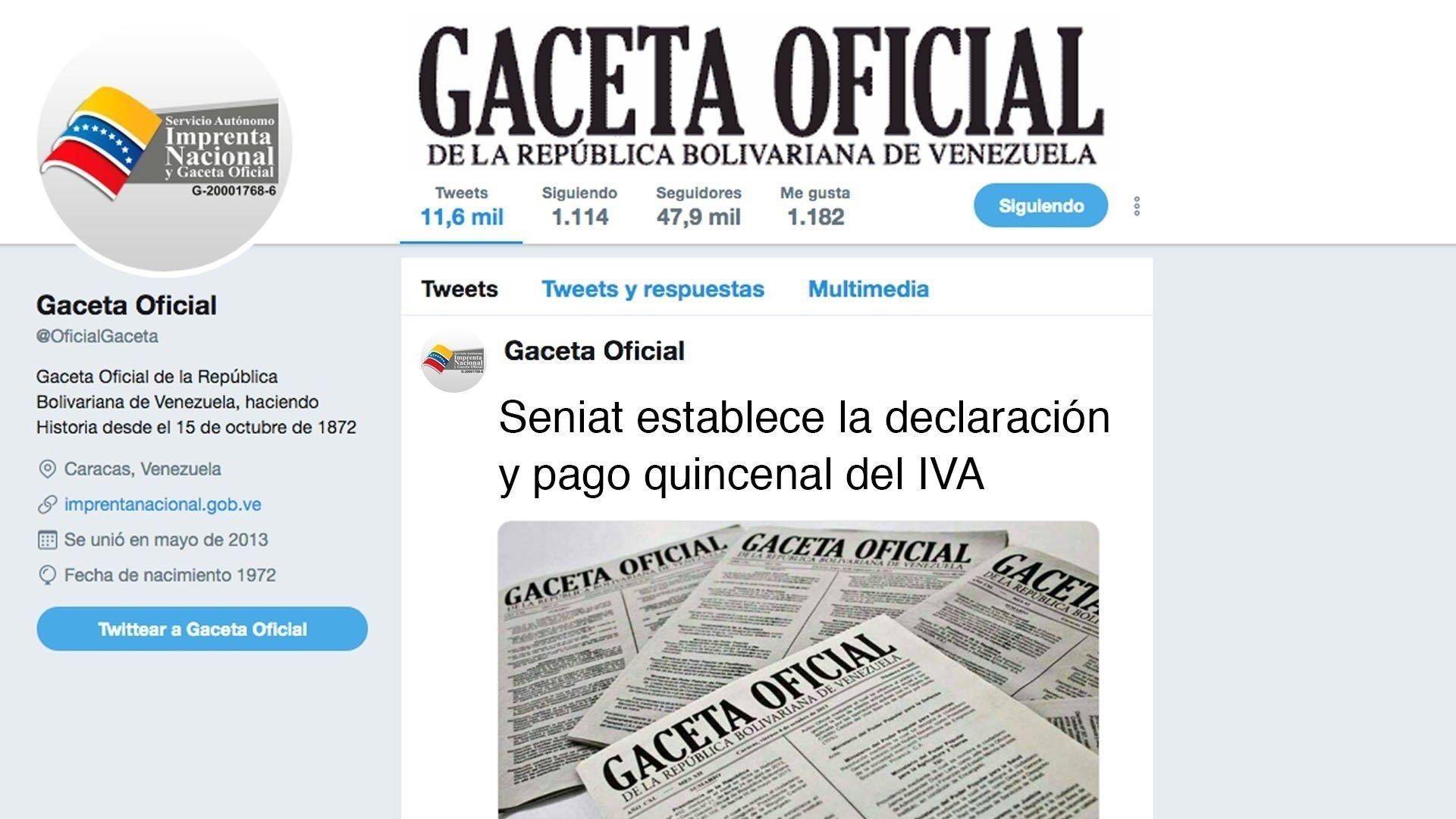 Seniat establece la declaración y pago quincenal del IVA