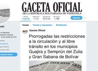 Prorrogadas las restricciones a la circulación y al libre tránsito en los municipios Guajira y Semprún del Zulia y Gran Sabana de Bolívar